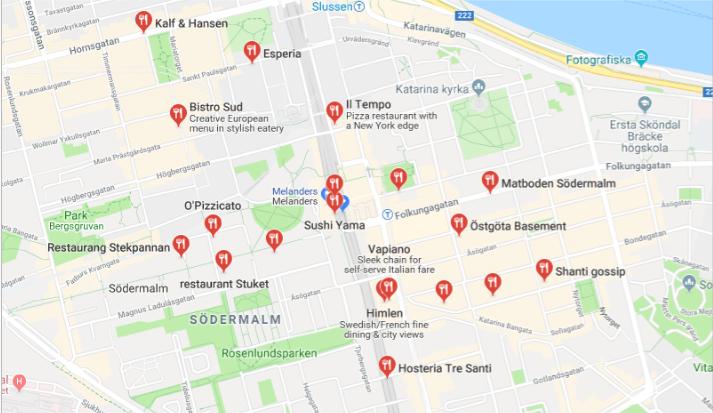 Restauranger – Google Maps - Edited